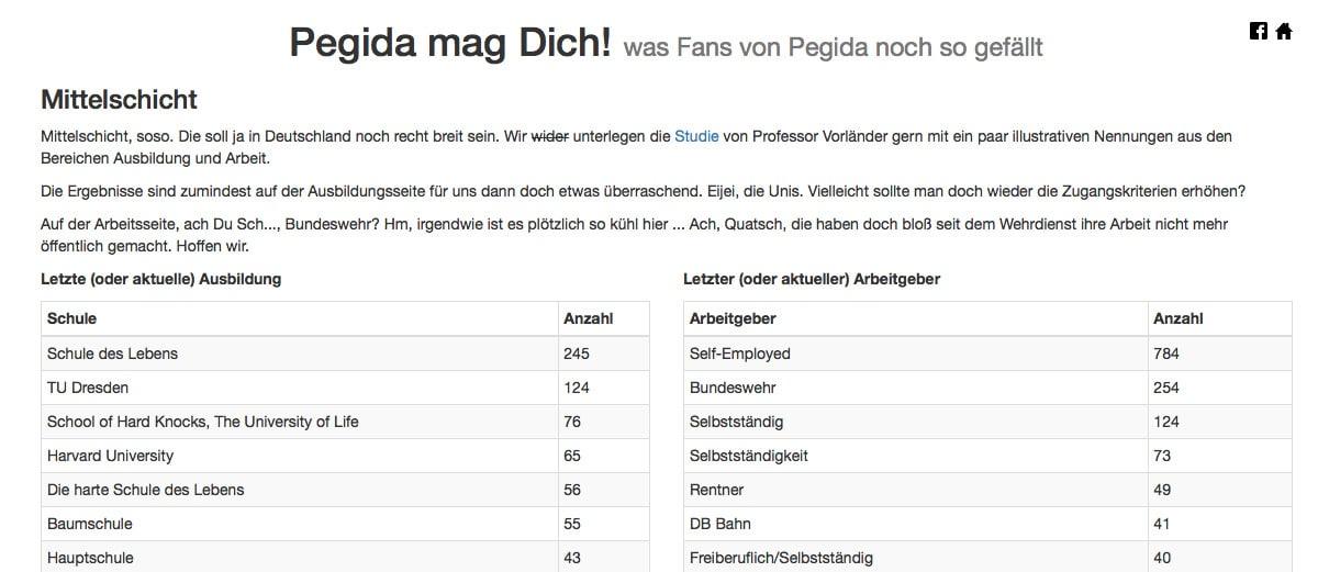 Pegida mag Dich. Was Fans von Pegida noch so gefällt. Statistiken zu Pegida-Anhängern. 2015-01-28 21-00-56