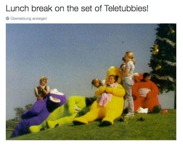 "Behind the Scenes auf Twitter: ""Lunch break on the set of Teletubbies! http:::t.co:HweTaUbEsW"" 2015-10-21 19-38-57"
