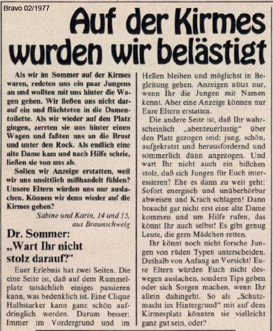 Bravo Krimis Belästigung dr. sommer