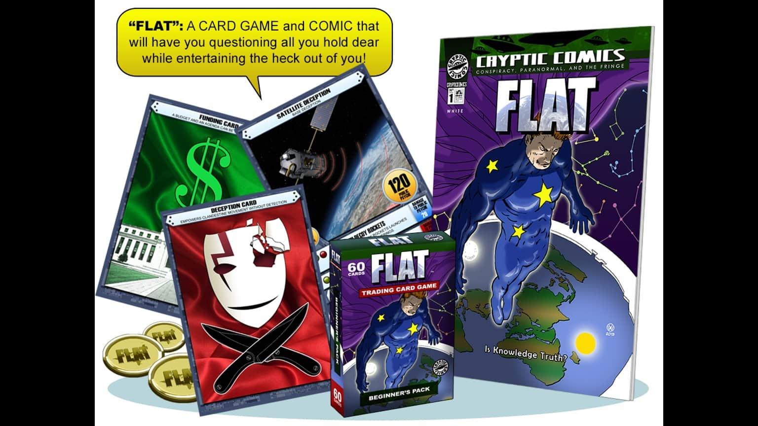 flache erde comic kartenspiel