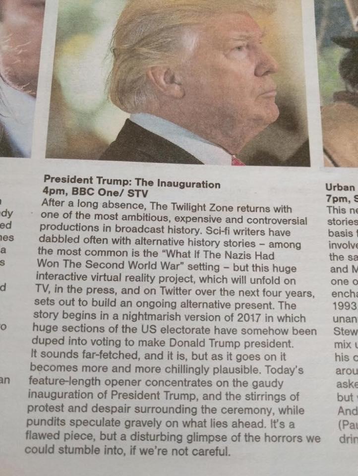 trump inauguration tv zeitung